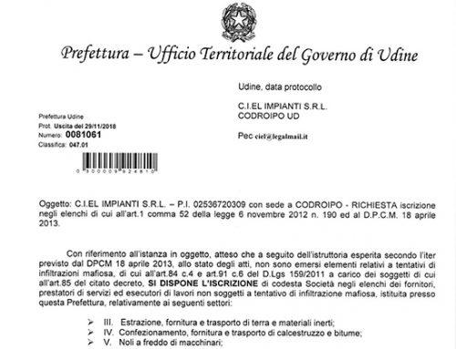 Prefettura Udine – Iscrizione ufficiale di Ciel nella White list